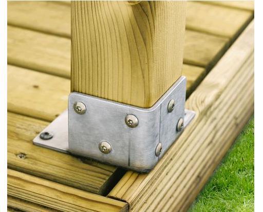platine de fixation pour poteau pergola bois clairval. Black Bedroom Furniture Sets. Home Design Ideas
